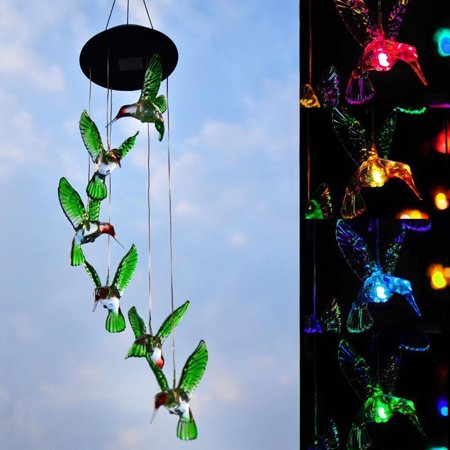 2-pack Color-Changing LED 6 Hummingbird Solar Wind Chimes Yard Home Garden Decor