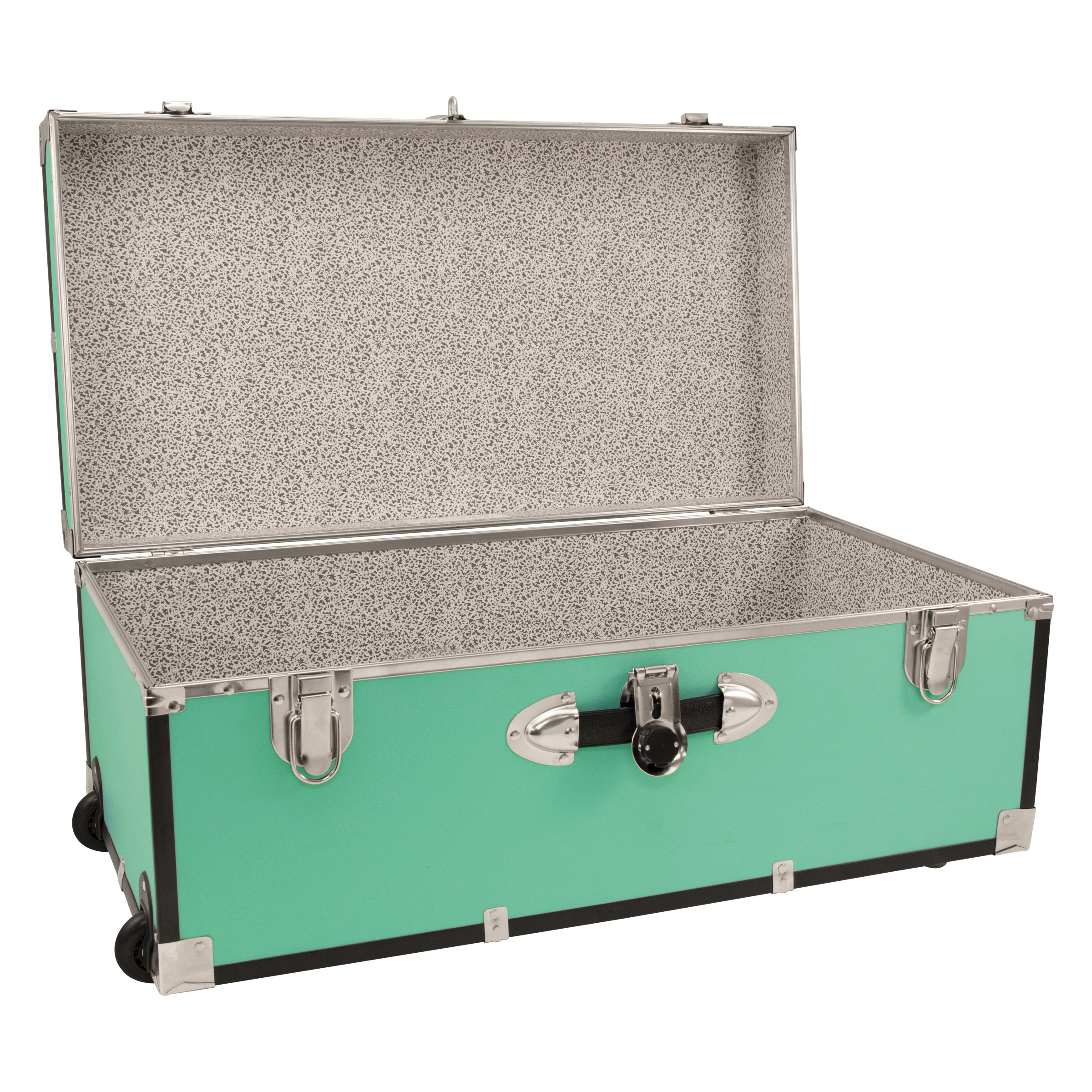 delightful Teal Storage Trunk Part - 3: College Dorm Storage Chest Trunk 30-Inch Lockable Footlocker with Wheels,  Teal