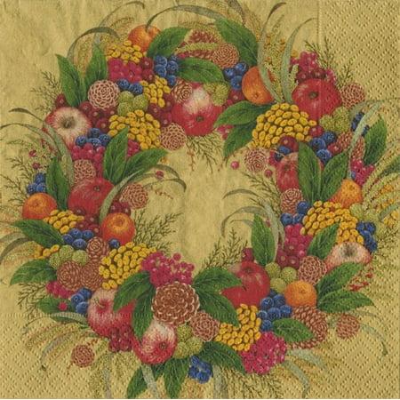 Christmas Cocktail Napkins 20ct Caspari 8261C Karens Wreath