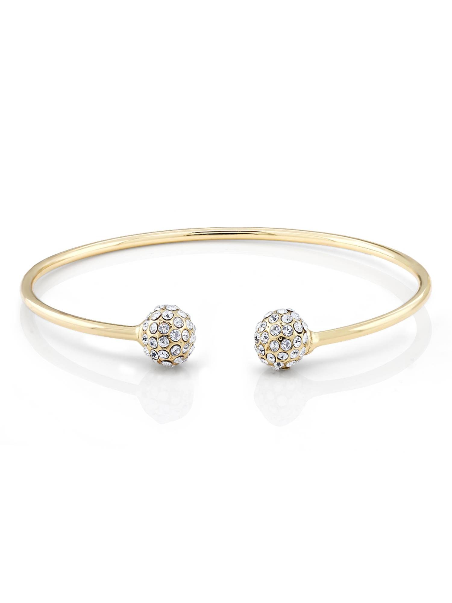 "Stunning 7.5"" Yellow Gold Plated Brass Open Bangle Bracelet with Ball Shape Crystals"