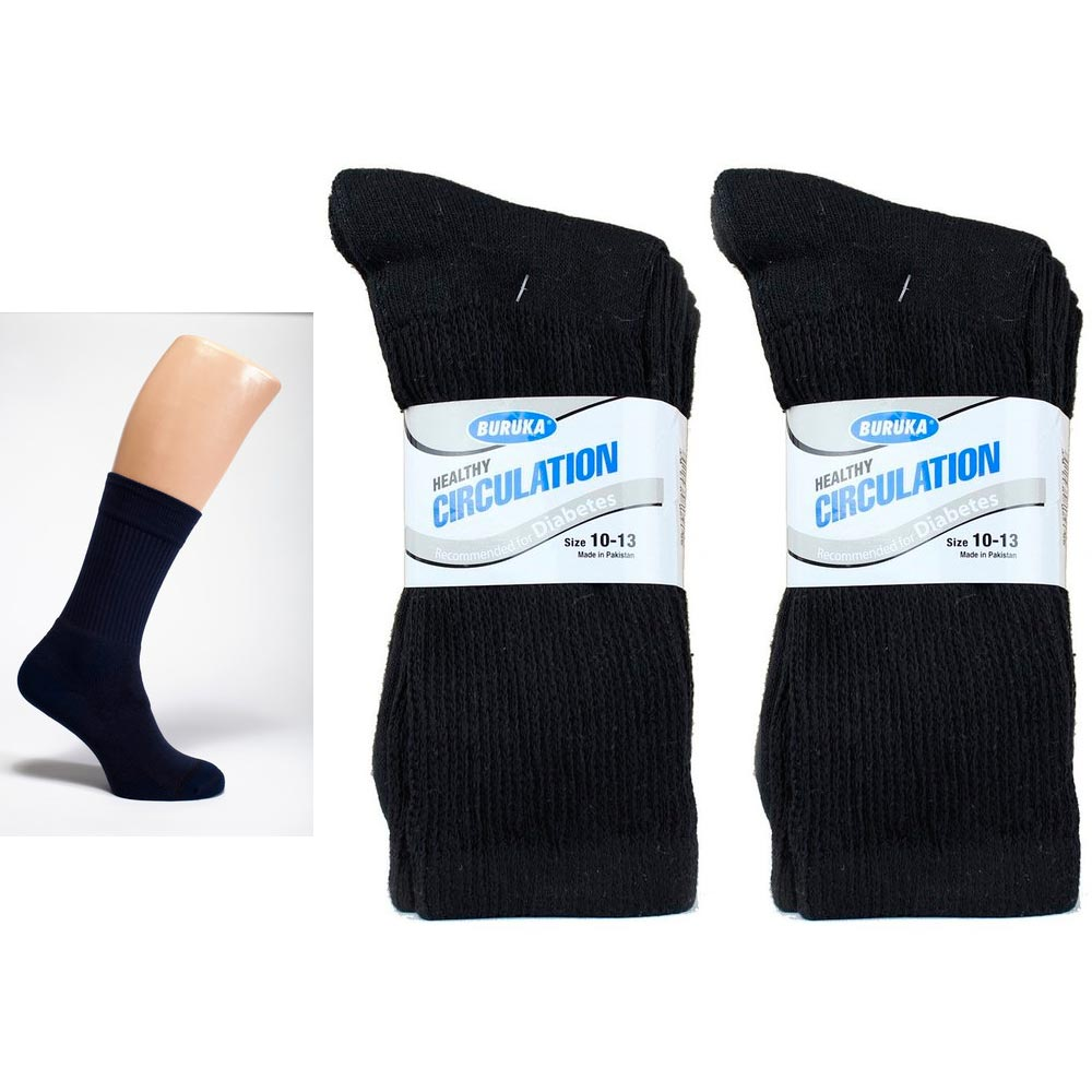 6 Pair Diabetic Crew Circulation Socks Health Support Mens Loose Fit 10-13 Black