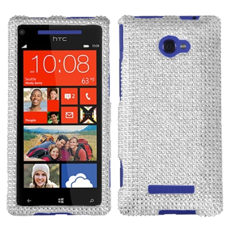 Insten Silver Diamante Case (Diamante 2.0) for HTC: Windows Phone 8X, 6990LVW (Windows 8X)