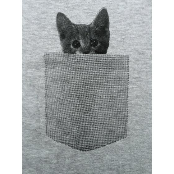 5934905ecd74 Crazy Dog Funny T-Shirts - Mens Pocket Cat T Shirt Funny Printed ...