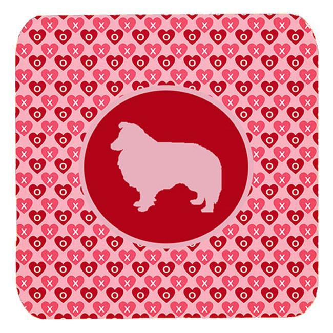Sheltie Valentine Hearts Foam Coasters - Set 4, 3.5 x 3.5 In. - image 1 of 1