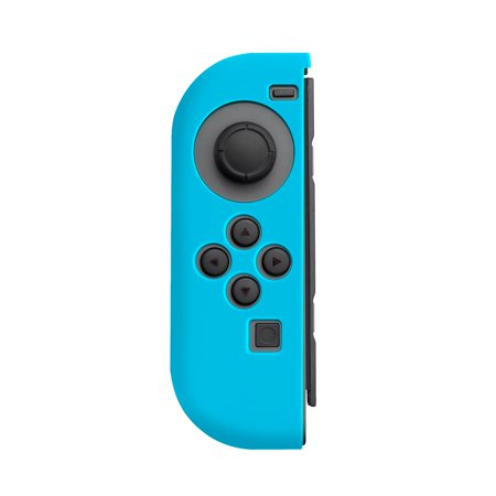 Nintendo Switch Joy-Con case, by Insten (Left BLUE + Right BLACK) Nintendo Switch Joy-Con Skin Case Cover with 2-Pcs Thumb Grip Stick Caps (Style 1) For Nintendo Switch Joy Con Left/Right Controller - image 2 of 5