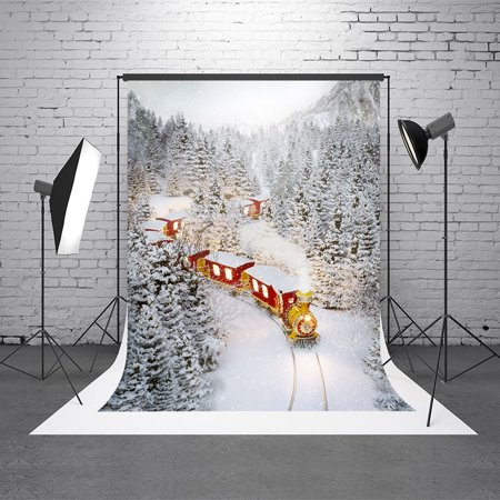 GreenDecor Polyester Fabric 5X7ft Christmas Winter Backgrounds White Snow Forest Scenery Photography Backdrop Vintage Red Train Christmas Backdrop for Pictures ()