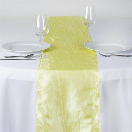 Yellow Table Runners (Efavormart Taffeta Crinkle Premium Table Top Runner For Weddings Party Birthday Banquets Decor Fit Rectangle and Round)