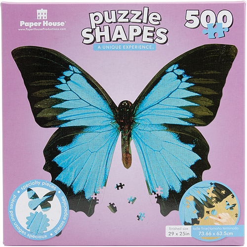 """Jigsaw Shaped Puzzle 500 Pieces 17""""X23""""-Mountain Blue Butterfly"""