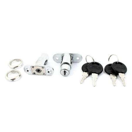 Cabinet Mailbox Drawer Metal Keyed Cam Lock Locker Silver Tone 2pcs - image 1 of 2