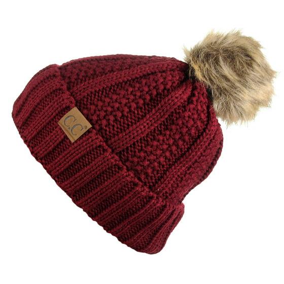 78b864a1b14e0 C.C - C.C Thick Cable Knit Faux Fuzzy Fur Pom Fleece Lined Skull Cap ...