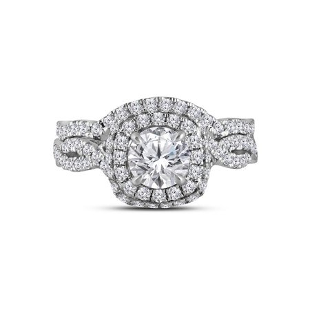 14kt White Gold Womens Round Diamond Halo Bridal Wedding Engagement Ring Band Set 1-7/8 Cttw - image 1 de 1
