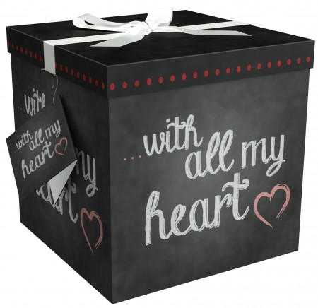 Gift Box 12x12x12 Amrita Heart Collection - Easy to Assemble & Reusable - No Glue Required - Ribbon, Tissue Paper, and Gift Tag Included - EZ Gift Box by Endless Art US