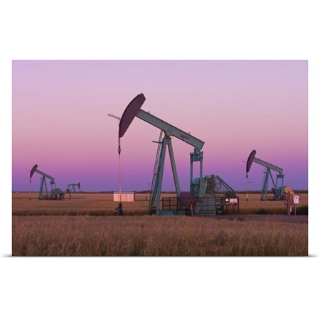 Great Big Canvas Mike Grandmaison Poster Print Entitled Oil Pump Jacks On Canadian Prairie At Dusk  Carlyle  Saskatchewan  Canada