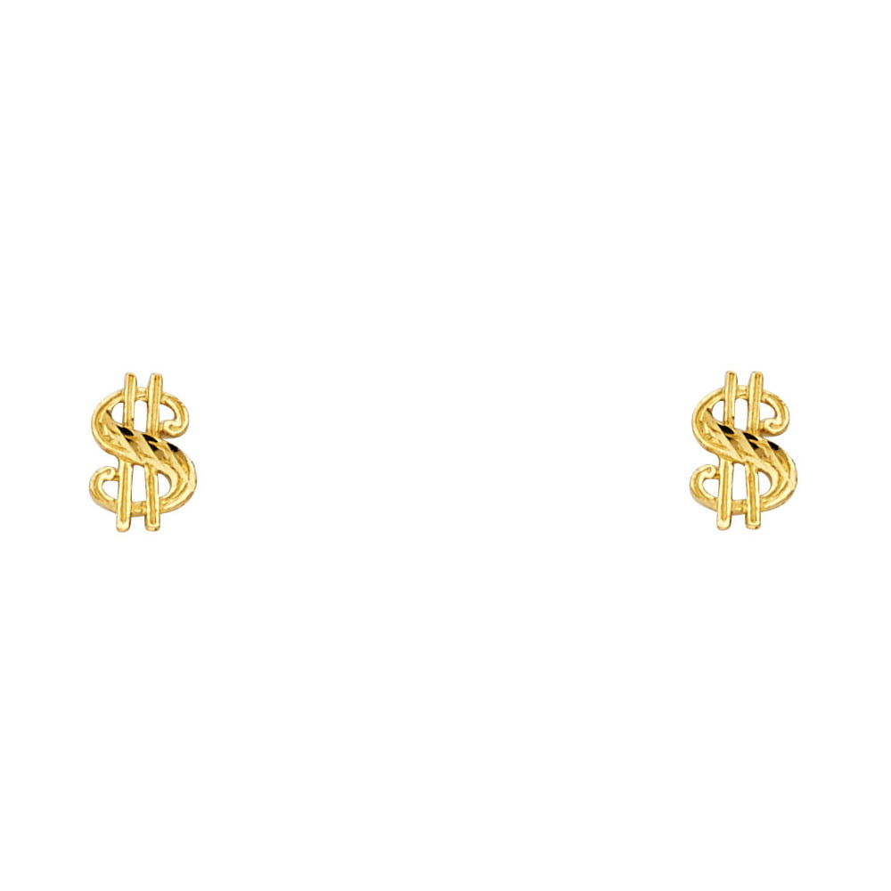 Dollar Sign Stud Earrings Solid 14k Yellow Gold Money Symbol Post Studs Diamond Cut Style 8 x 4 mm