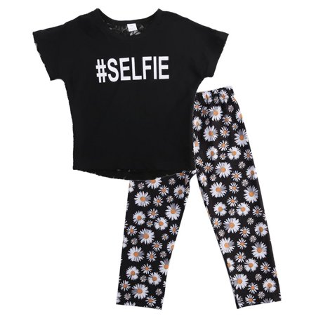 Girls Summer Floral Outfits Baby Kids Girl Summer Daisy Lace Hollow T-shirt Tops+Floral Pants 2 Pcs Clothing Outfit Clothes 2-7Y