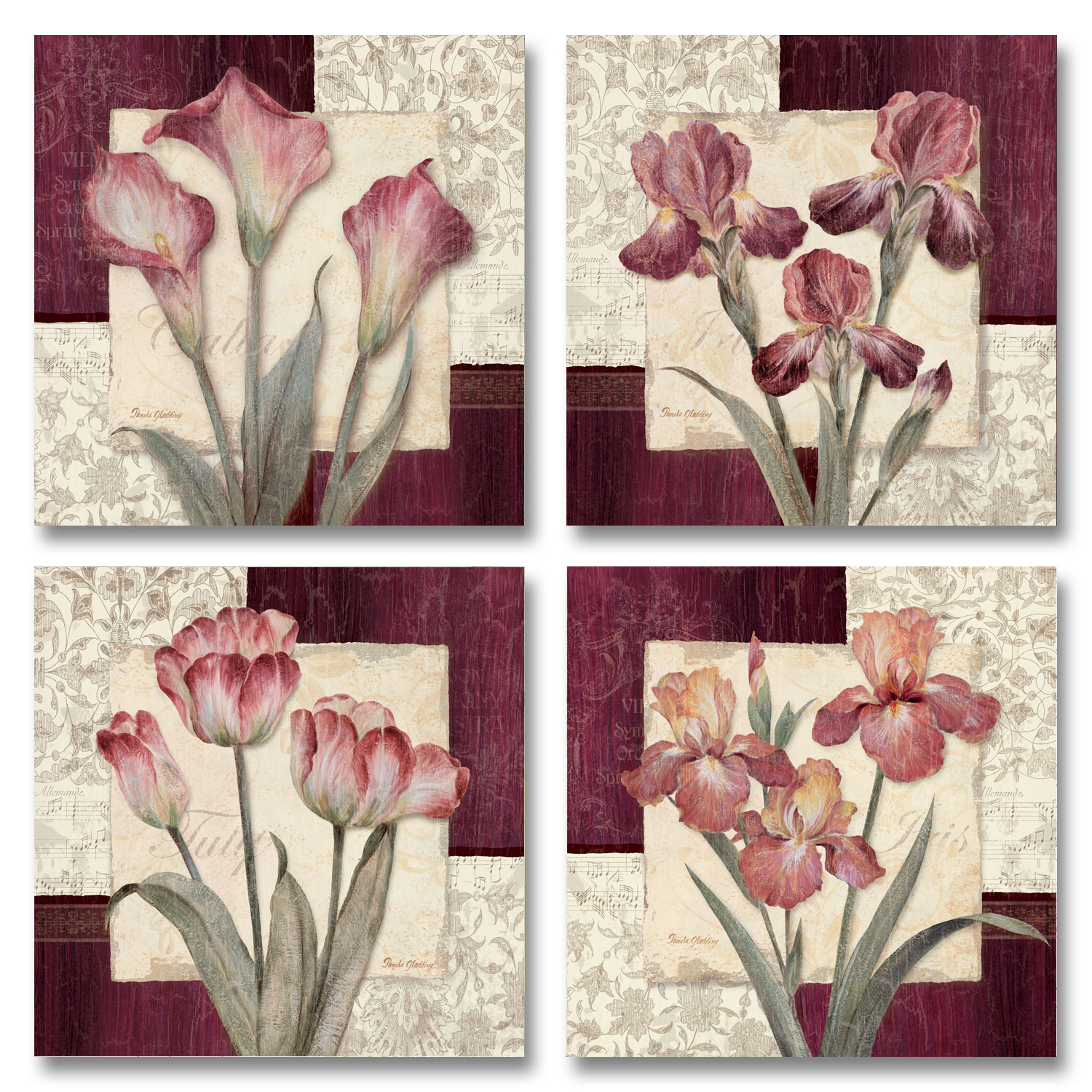 Trio Sonata I - Classic, Vintage Burgundy and Pink Flowers; Floral Decor; Four 12X12 Poster PRints