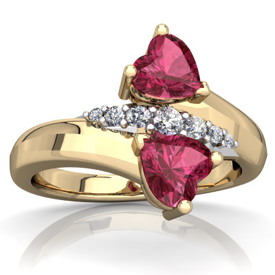 Pink Tourmaline Heart to Heart Bypass Ring in 14K Yellow Gold by