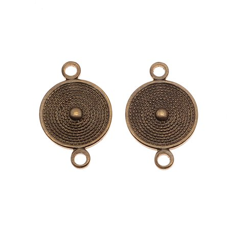 Brass 2 Hole - Vintaj Natural Brass Mediterranean Shield 2 Hole Connector Beads 16 x 10mm (2)
