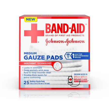 Band-Aid Brand Sterile Gauze Pads, Medium, 3 in x 3 in, 25 ct