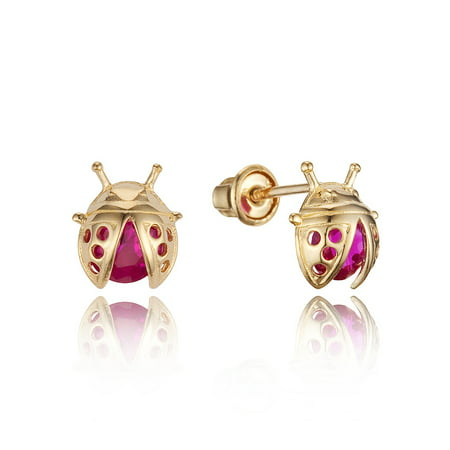 14k Yellow Gold Lady Bug Cubic Zirconia Children Screwback Baby Girls Stud Earrings](Kid Earrings)