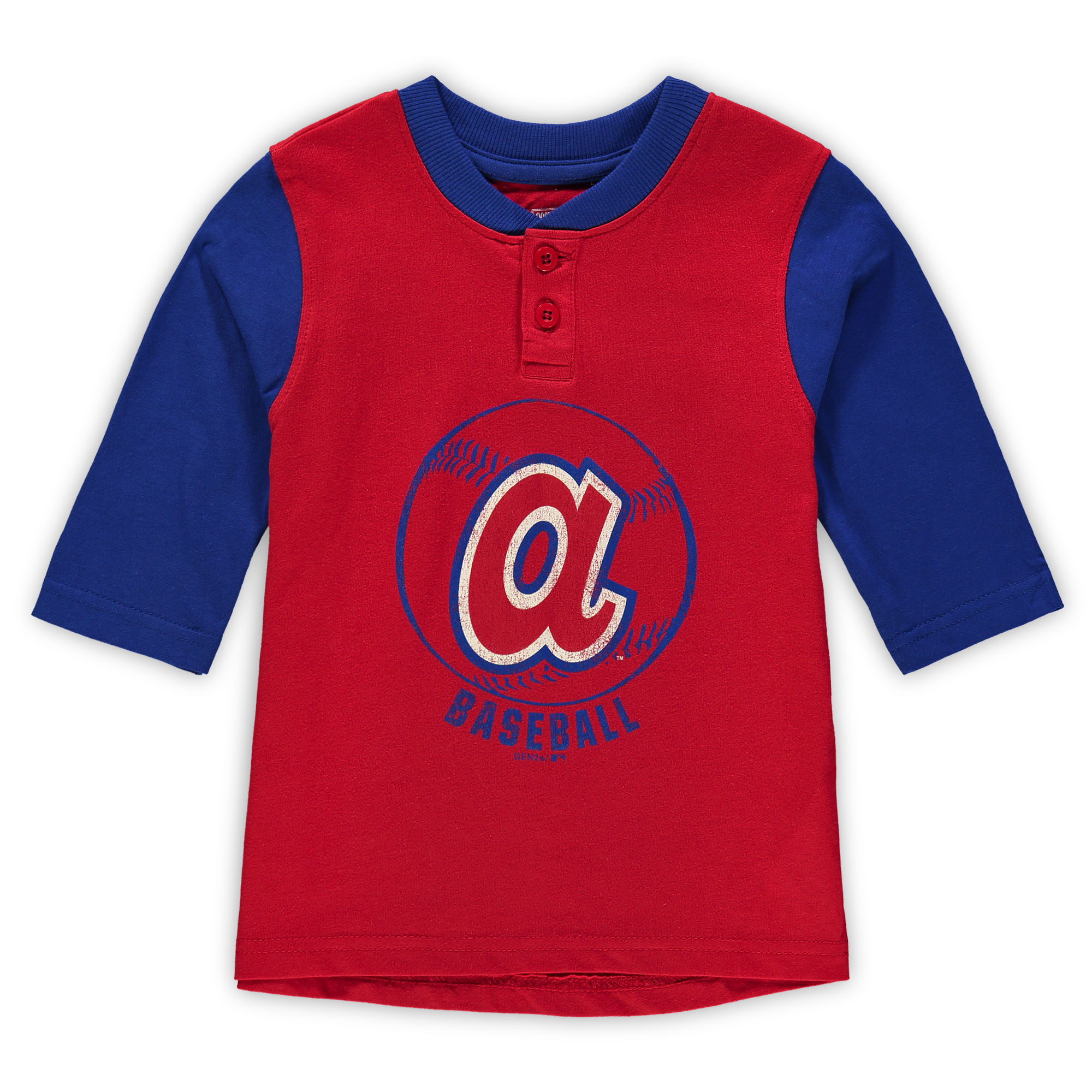 Atlanta Braves Toddler Cooperstown Collection Legacy Henley 3/4-Sleeve T-Shirt - Red/Royal