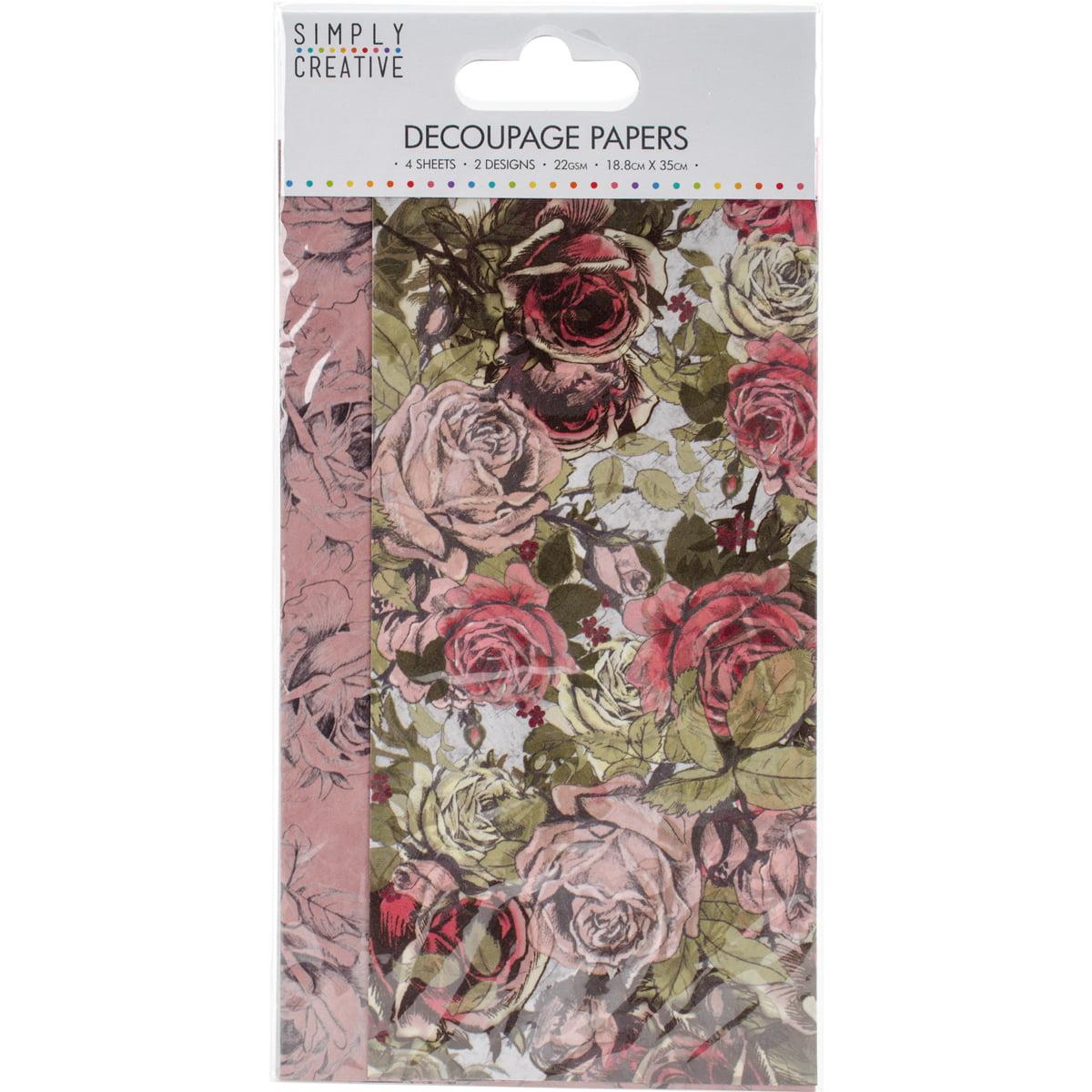 Simply Creative Decoupage Paper 18.8cm X 35cm 4/Pkg-Rose Bloom