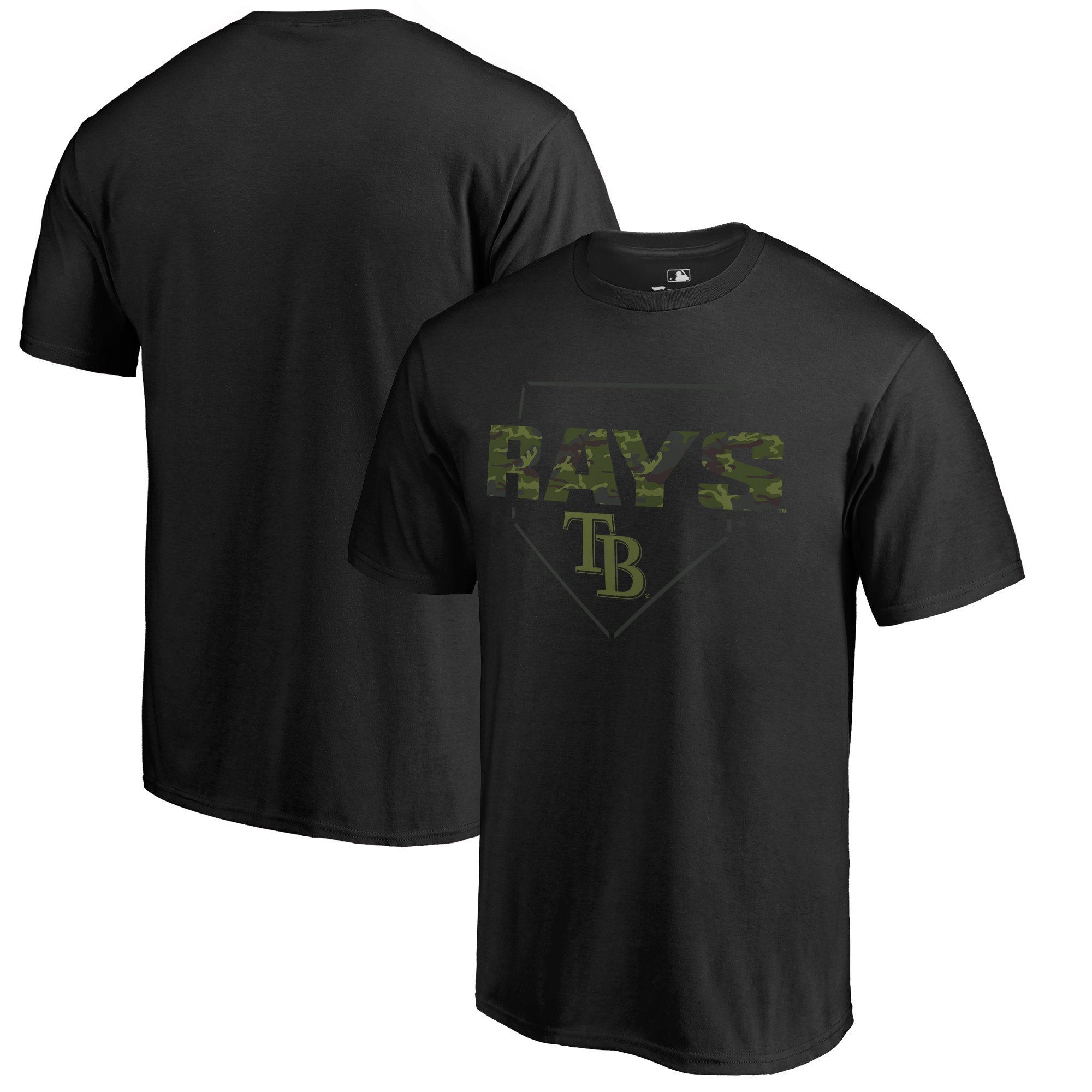 Tampa Bay Rays Fanatics Branded Big & Tall Memorial Camo T-Shirt - Black