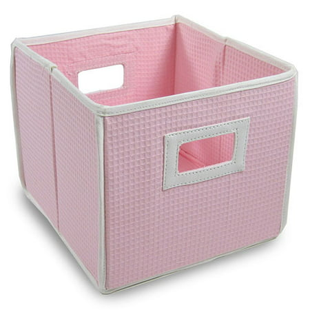 Badger Basket - Waffle Fabric Folding Bin, Pink