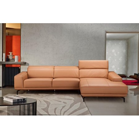 Modern Light Brown Premium Italian Leather Sectional Sofa Left Hand J&M Lima