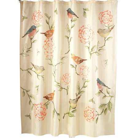 Birds And Blooms Floral Cream Shower Curtain With Pink Green Accents
