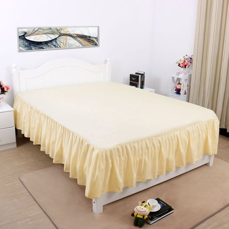 Pleated Bed Skirts Polyester Solid Dust Ruffle 14 Inch Drop Beige,21 - image 4 de 8