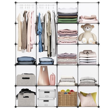 LANGRIA 20 Cubby Shelving Closet System Cube Organizer Plastic Storage Cubes Drawer Unit, DIY Modular Bookcase Cabinet with Translucent Design for Clothes, Shoes, Toys - Closet Cubby