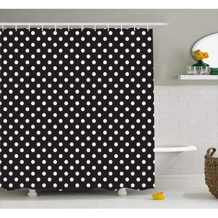 Black and White Shower Curtain, Classical Pattern of White Polka Dots on Black Traditional Vintage Design, Fabric Bathroom Set with Hooks, 69W X 70L Inches, Black White, by