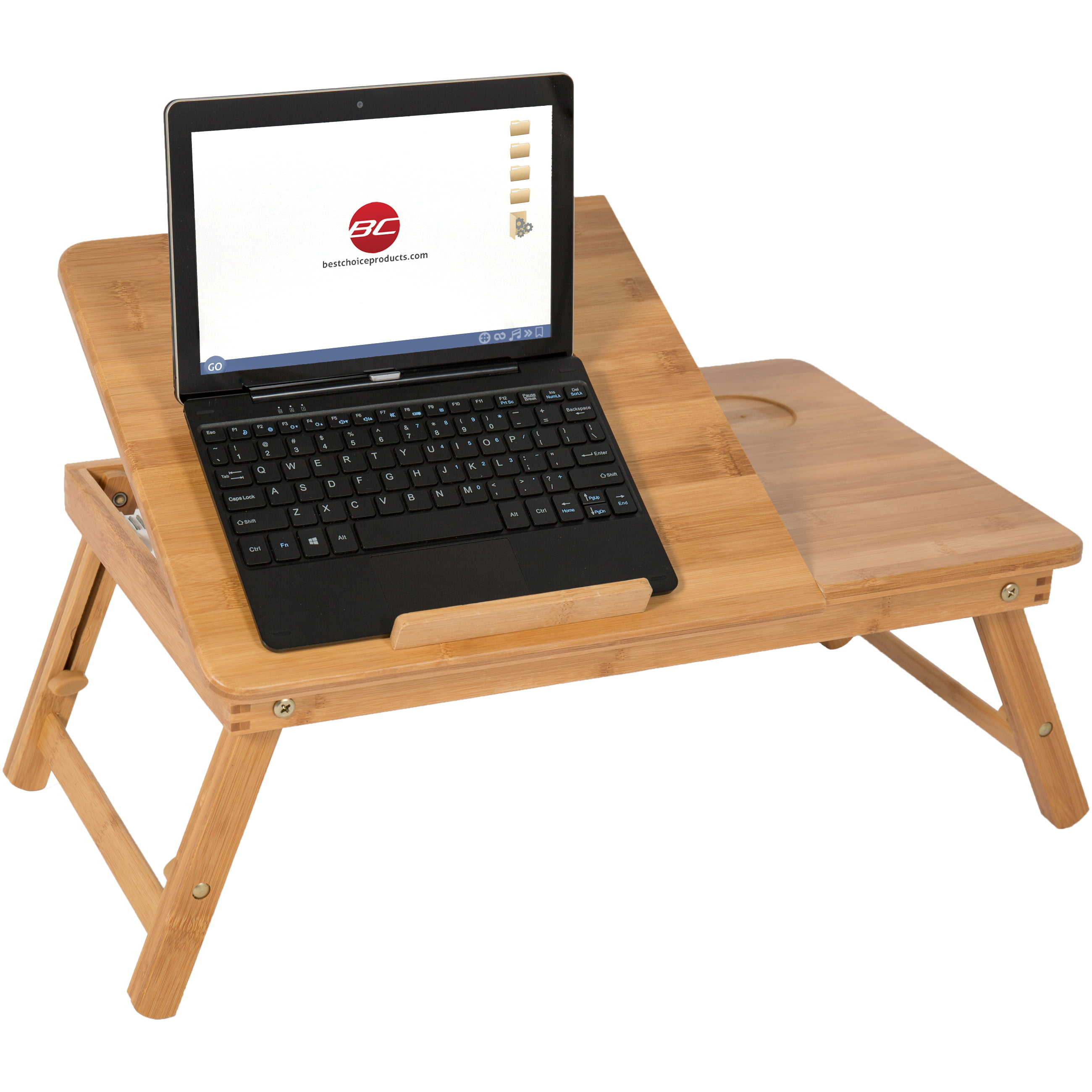 100 Bamboo Adjule Laptop Table Computer Desk Tilting Top W Drawer Bed Tray