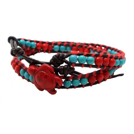 Double Wrap Around Bracelet - Timeless Ocean Sea Turtle Reconstructed Red Coral and Simulated Turquoise Double Leather Wrap Bracelet