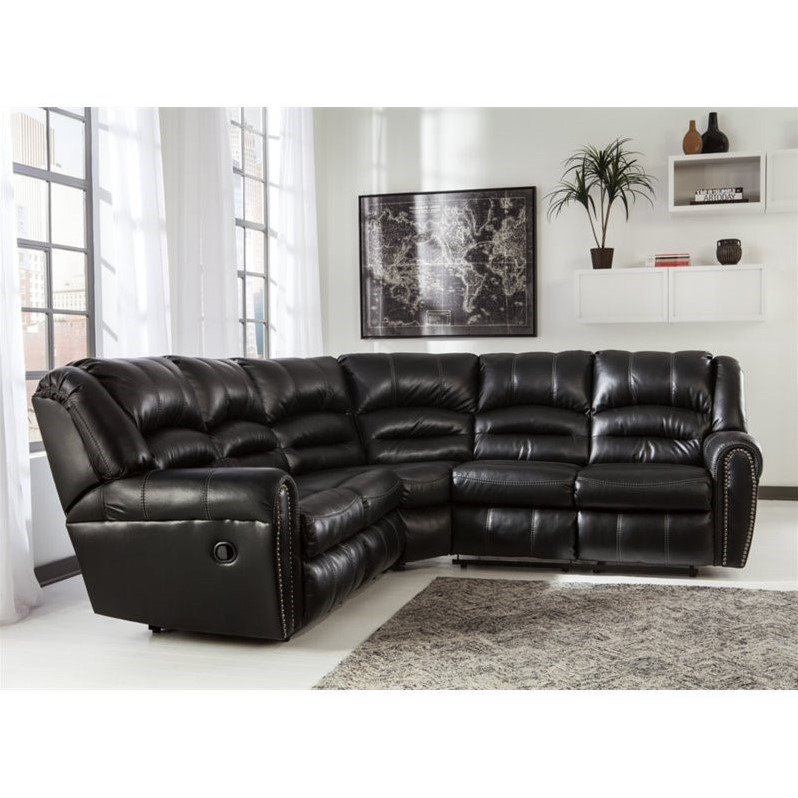Ashley Manzanola 2 Piece Faux Leather Reclining Sectional in Black  sc 1 st  Walmart & Ashley Manzanola 2 Piece Faux Leather Reclining Sectional in Black ... islam-shia.org