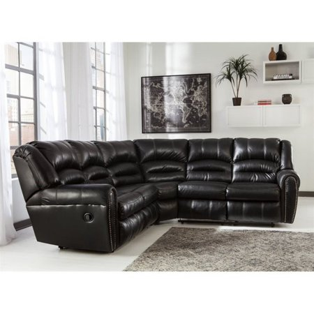 Ashley Manzanola 2 Piece Faux Leather Reclining Sectional in Black