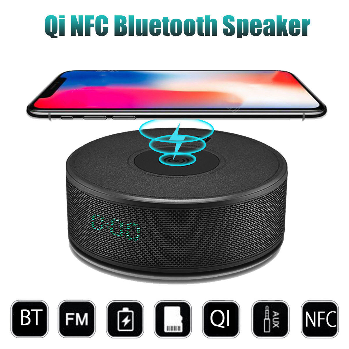 8in1 QI Wireless Charger Charging Pad Dock Power Bank Mini Bluetooth Speaker NFC Android APP Alarm Clock