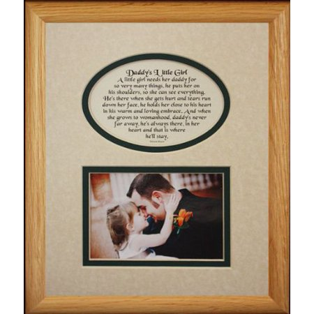8X10 Daddy's Little Girl Picture & Poetry Photo Gift Frame ~ Cream/Hunter Mat ~ Heartfelt Keepsake Picture Frame For Dad From His Little Girl On Father's Day, Christmas, Birthday Or Valentines Day!