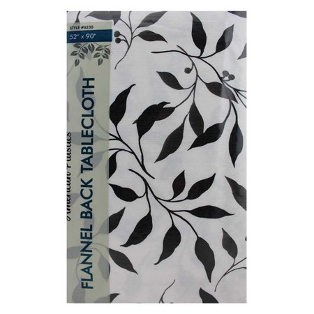 Flannel Back Tablecloth Black And White Leaf Design 52