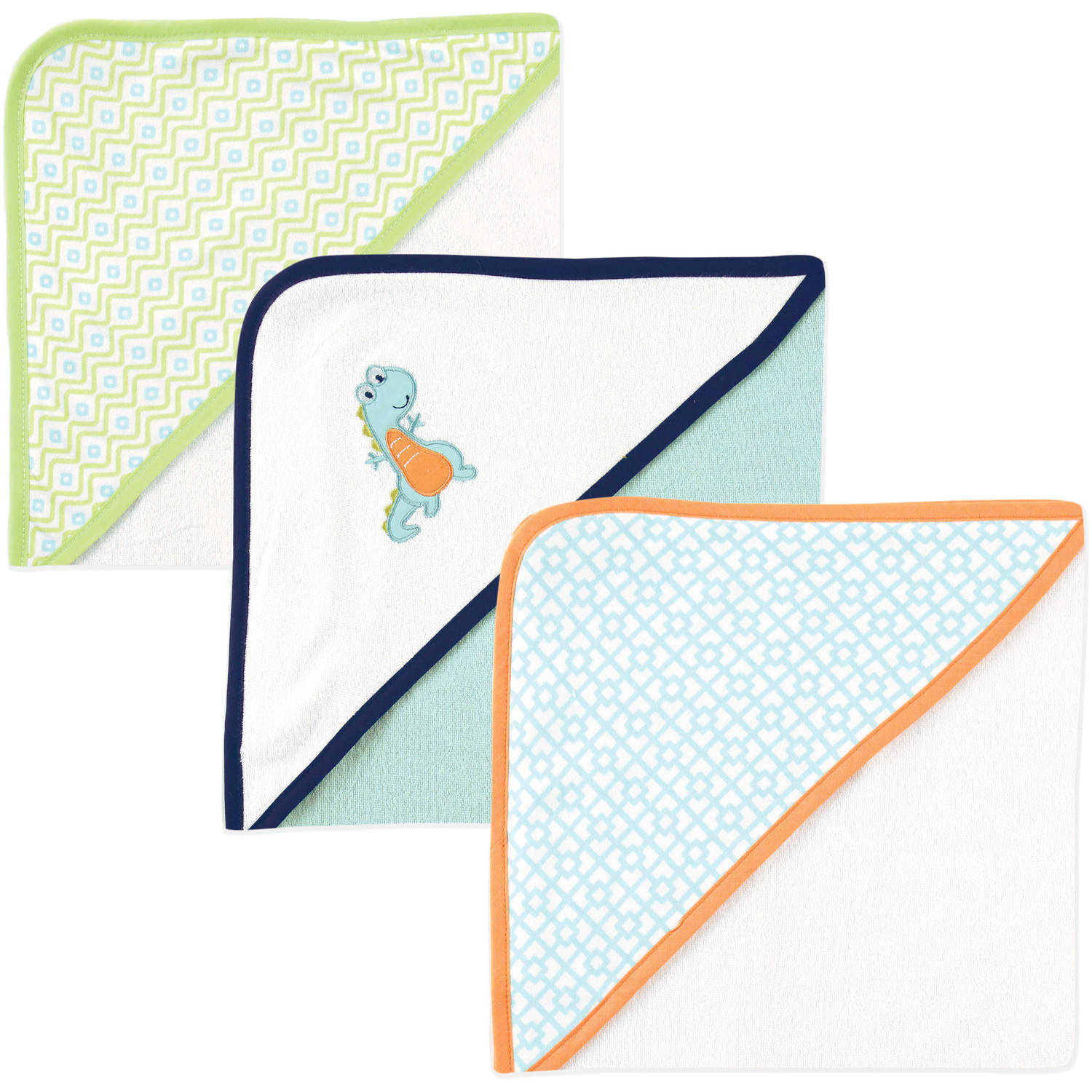 Luvable Friends Baby Boy Hooded Towels, 3-Pack, Dinosaur