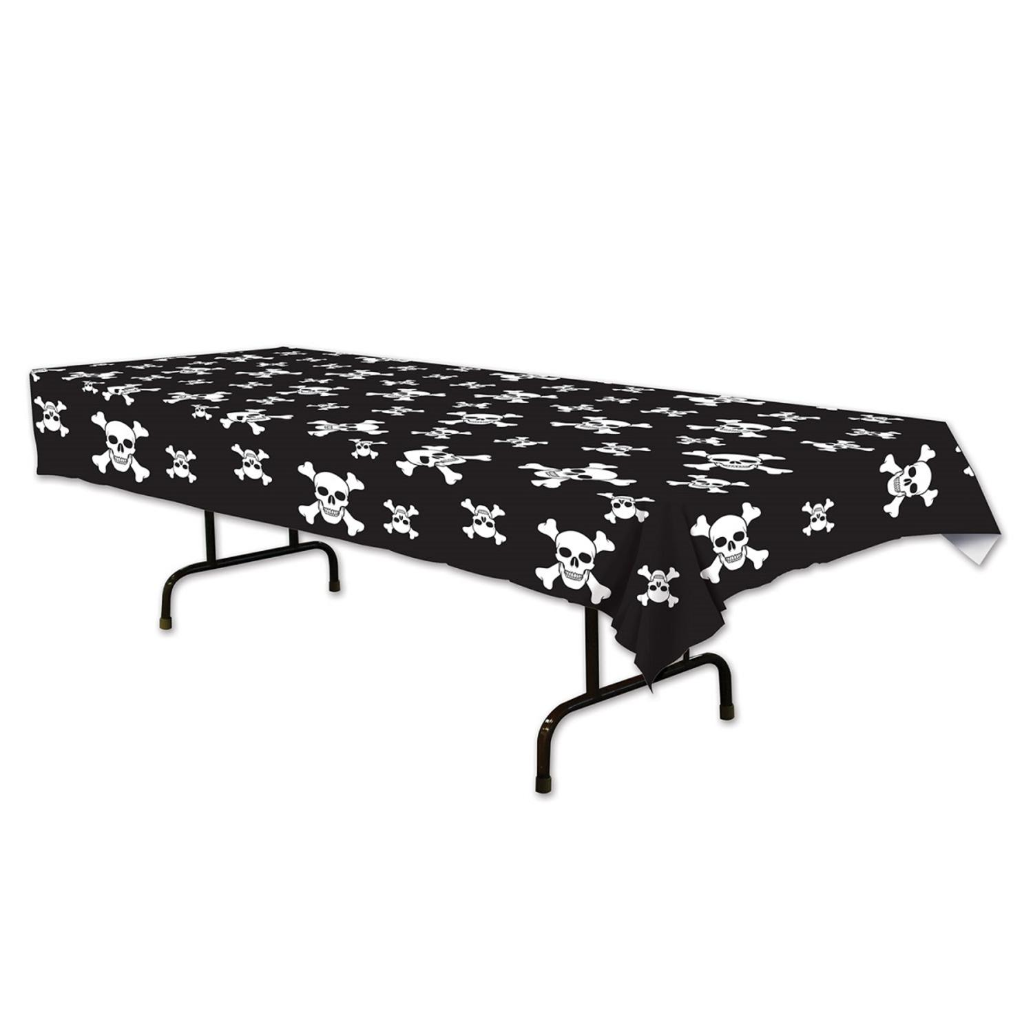 """Club Pack of 12 Jolly Roger Printed Pirate Rectangle Table covers 54"""" x 108"""""""