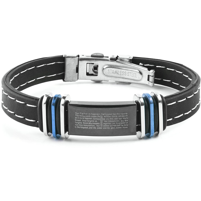 Men's Bluetone Two-Tone Stainless Steel Lord's Prayer ID Plate Rubber Bracelet