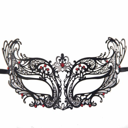 Stunning Laser Cut Masquerade Mask Extravagant Inspire Design Black with Red Crystals - Black And Red Masquerade Mask