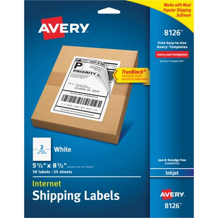 Avery Shipping Labels With Trueblock Technology White 50 Pack