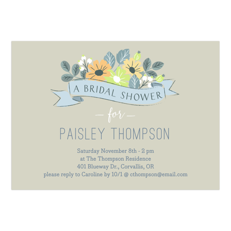 Personalized Wedding Bridal Shower Invitation - Floral Fete - 5 x 7 Flat
