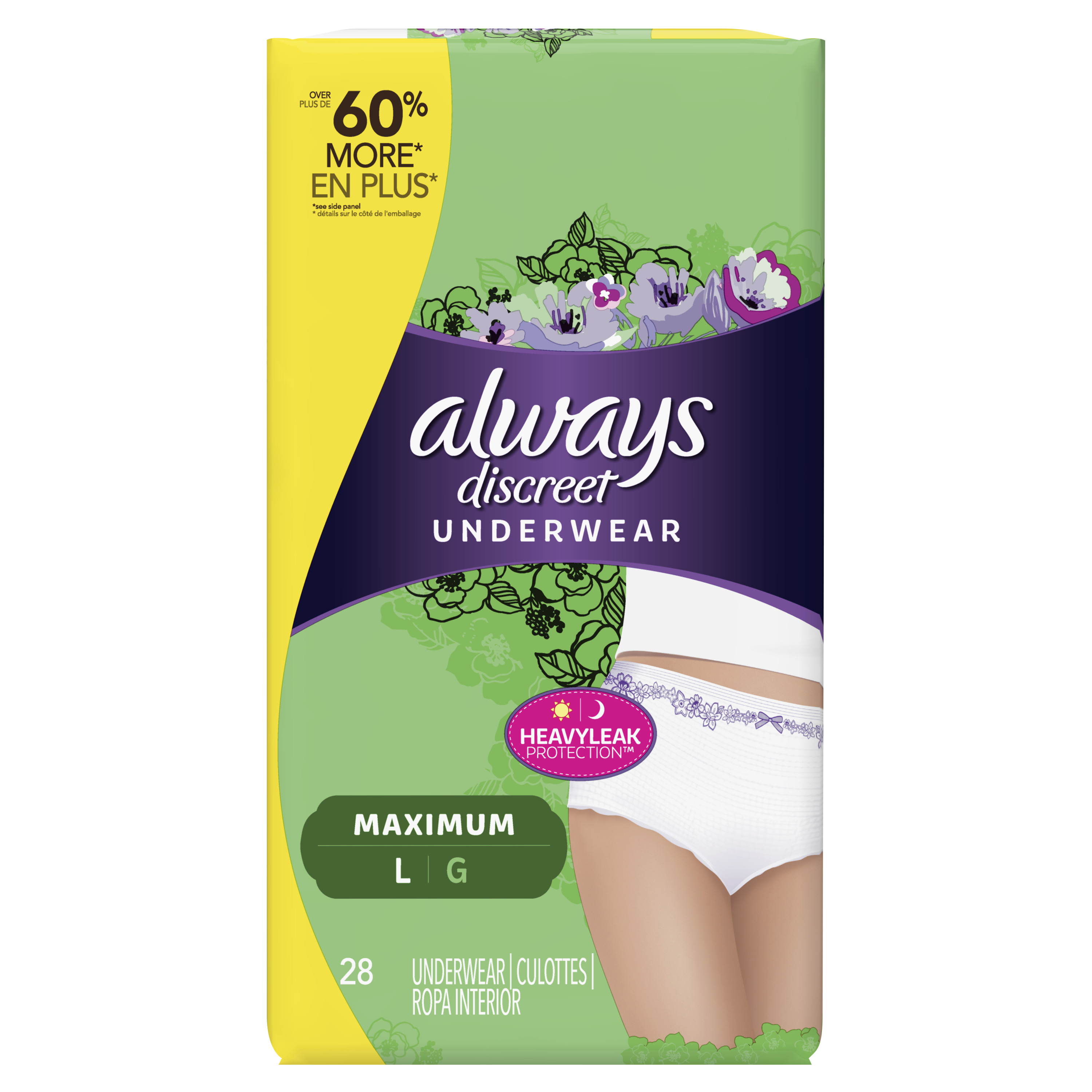 Always Discreet, Incontinence Underwear for Women, Maximum Protection, Large, 28 Count