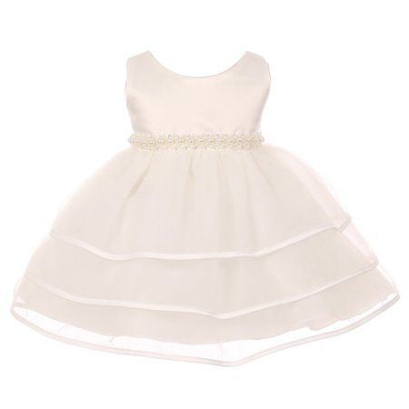 Chic Baby Girl Ivory Organza Pearl Sash Triple Layer Flower Girl (Triple Layer Girl Dress)