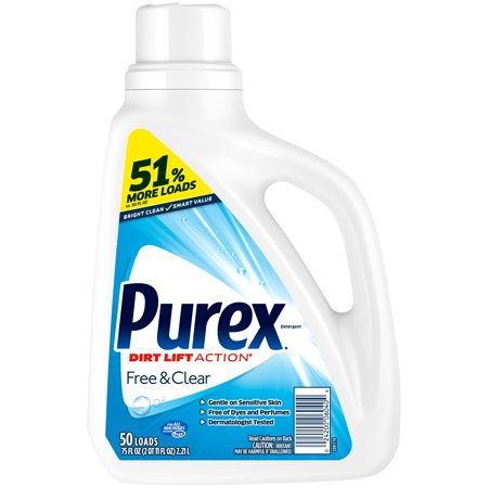 Purex Liquid Laundry Detergent, Free & Clear, 75 Fluid Ounces, 50 Loads Free & Clear Laundry