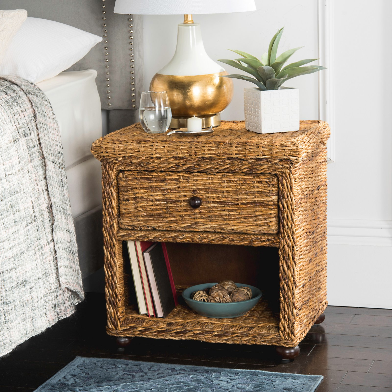 Safavieh Magi Wicker 1-Drawer Nightstand, Natural Brown